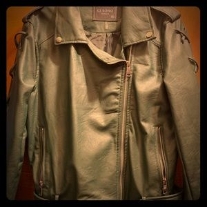 Jackets & Blazers - Hunter Green Faux Leather Jacket